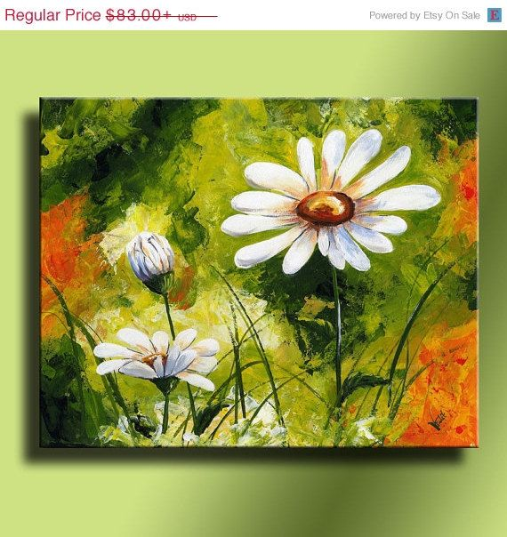 ON SALE White Daisies Canvas Print of Original by EditVorosArt, $74.70