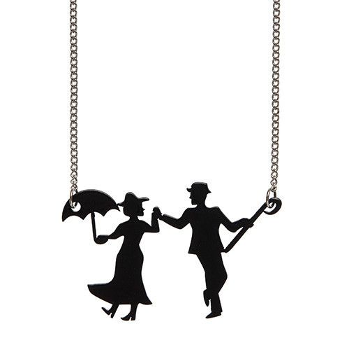Singing in the Rain (Erstwilder Black Silhouette Resin Necklace), now available. Hand assembled and hand painted, presented in a branded box.