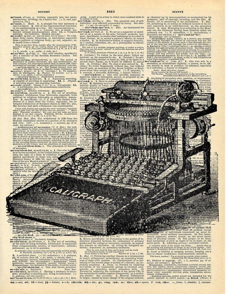 Machine à écrire Vintage dictionnaire Art Print recyclé