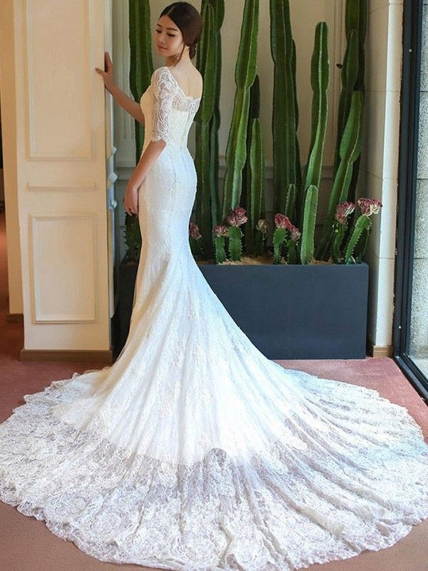 31fb0a8357d3 Cathedral Train Trumpet/Mermaid 1/2 Sleeves Square Lace Wedding Dresses