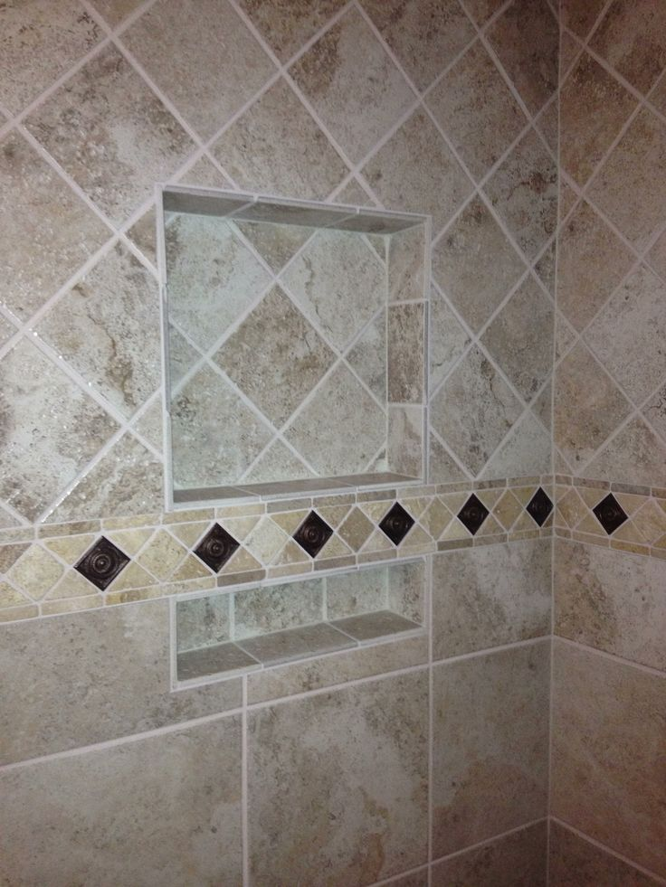 Tile Pattern Change, Upper Tile Diamond Pattern, Lower Straight Pattern,  Decorative Border With