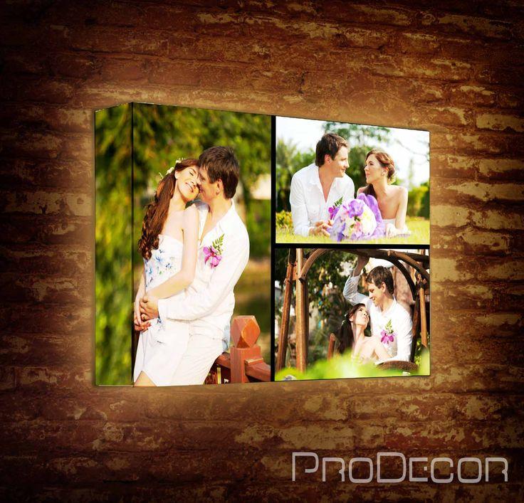 Фотоколлаж из ваших фотографий на интерьерном лайтбоксе - это идеальное решение для оформления свадебной фотосессии, фотографий с отдыха, семейных фото и др. Теперь ваши фотографии нашли достойное оформление. Вы можете создавать лайтбоксы с одиночными снимками, а можно составить фотоколлаж из свадебных фотографий, фотографий с отпуска, ваших семейных снимков и др.
