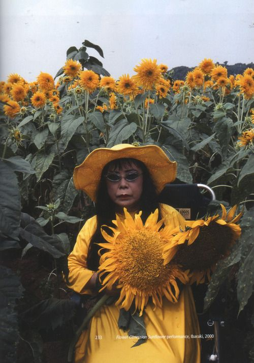 Yayoi Kusama, Flower Obsession Sunflower (2000) http://frozebydesire.tumblr.com/post/83556689526/pretty-casual-yayoi-kusama-flower-obsession