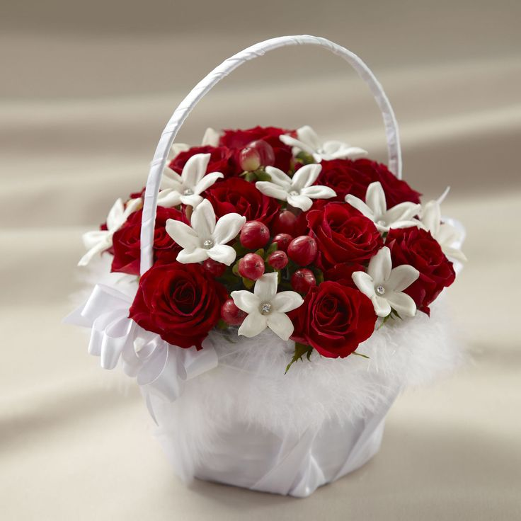 Flower Girl Baskets Bouquets : Images about red wedding flowers on