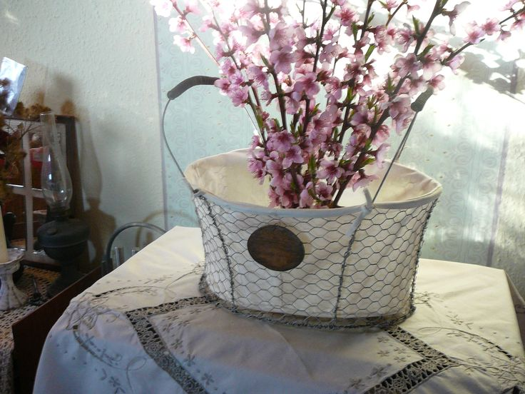 vintage chicken net wire basket
