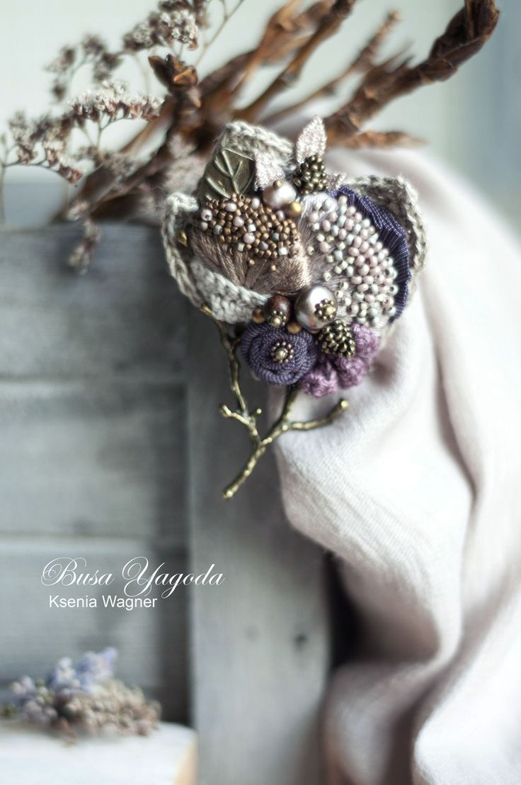 """Fabric brooch with beading / Купить Брошь """"Деревце"""" - сиреневый, фиолетовый, деревце, веточка, брошь с камнями, брошь с вышивкой, ткани"""