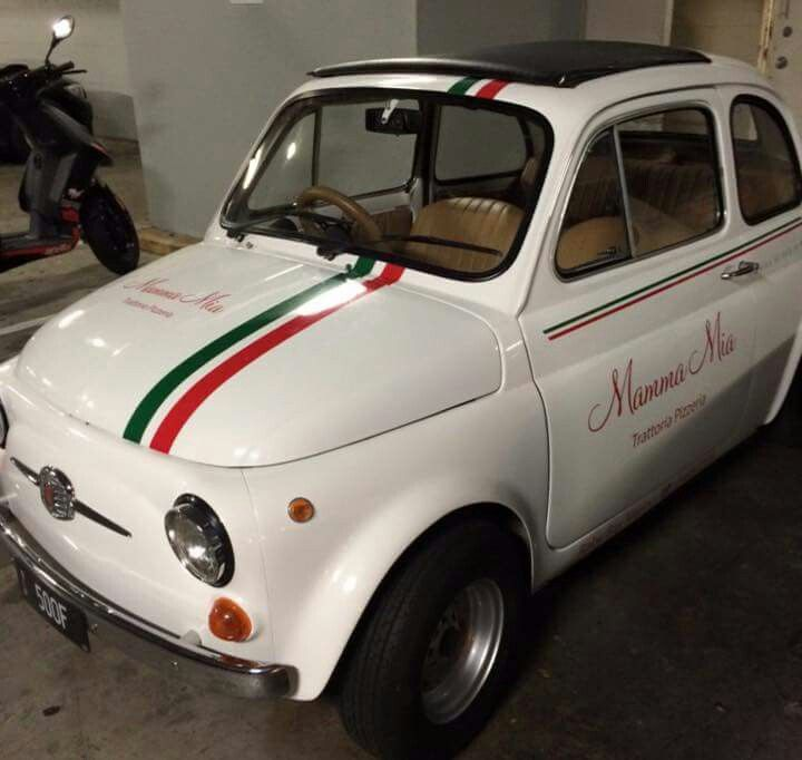 'Mama Mia Trattoria Pizzeria' - their gorgeous Fiat 500 Bambino