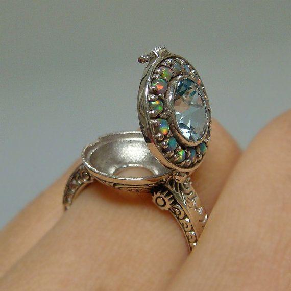 Aquamarine & Opal Poison Locket Sterling Silver .925 Ring ...