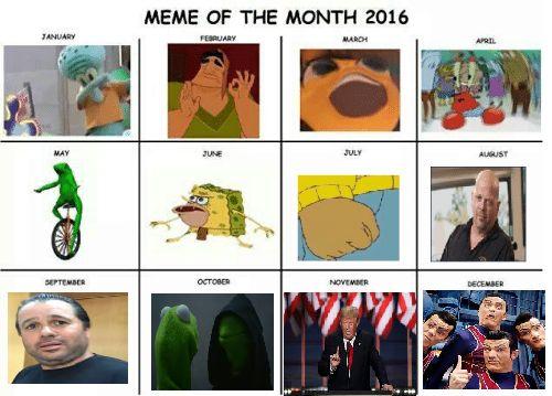 Completed Meme Calendar 2016