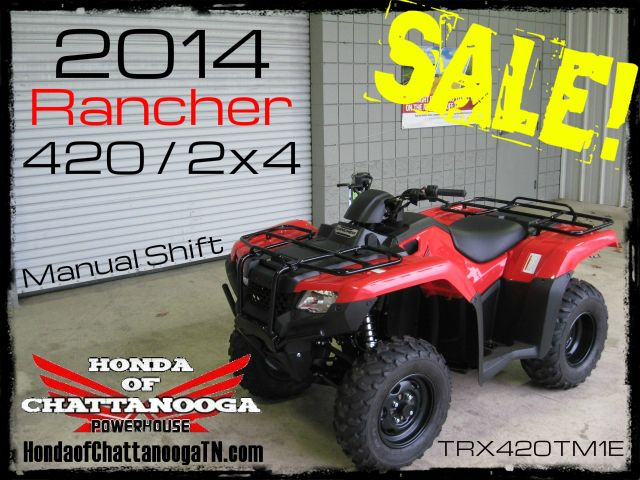 2014 Rancher 420 TRX420TM1E SALE Price at Honda of Chattanooga is too Low to advertise. Visit www.HondaofChatta... or Call / Email Kevin for the lowest & best 2014 TRX420 Rancher 2x4 ATV Sale Price. Our 2014 Rancher 420 2x4 ATVs are in stock and we have special financing $0 DOWN. 2014 TRX420TE1E Rancher / 2014 TRX420TM1E Rancher Available. Wholesale Honda ATV Prices Honda of Chattanooga TN GA AL ATV Dealer