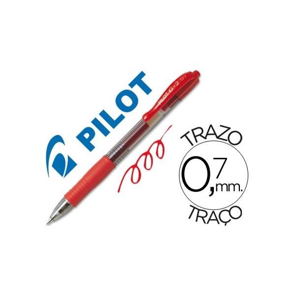 Color: Rojo  Bolígrafo retráctil con tinta gel  Con sujeción de caucho y clip del color de la tinta  Grip de caucho en la parte inferior  Diámetro de bola: 0,7 mm  Trazo de 0,7 mm