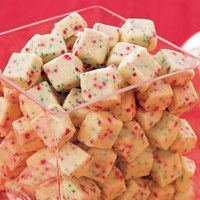 Christmas Shortbread Bites - so addictive! 1 1/4 cup(s) all-purpose flour 3 tablespoon(s) sugar 1/2 cup(s) (1 stick) butter (no substitutions), cold, cut into pieces 1 tablespoon(s) red and green sprinkles
