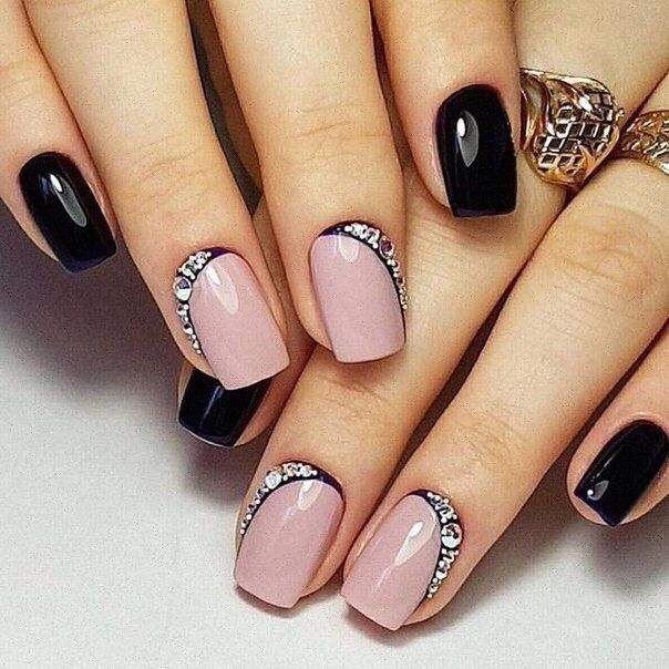 Accurate nails, Black and pink nails, Evening nails, Nails for a black evening dress, New year nails ideas 2017, Party nails, Smart nails, Square nails