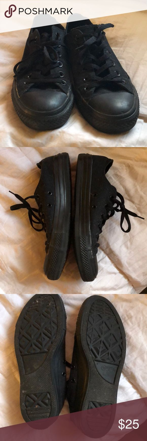 All Black Low Top Converse Cute pair of low top cons. I never wear them! Worn maybe 5 times, don't have the box though. Alittle faded but really not too bad. Size 8 in women's. Just sitting in a smoke and pet free home! Converse Shoes Sneakers