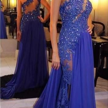 New Style Lace Appliques Prom Dress..