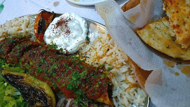 Beyti kebab (wrapped in lavash and topped with tomato sauce and yogurt) in family run business 'Micra Asia' close to Amerikis sq.