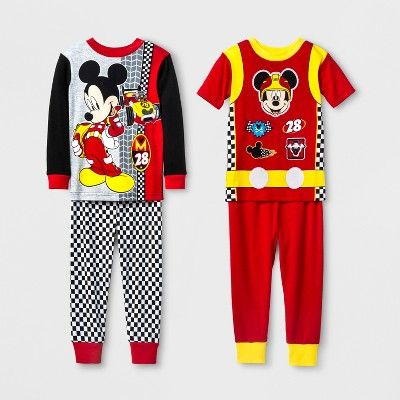 a25065ce43 Mickey Mouse Toddler Boys  Mickey Mouse 4pc Cotton Pajama Set - Red ...