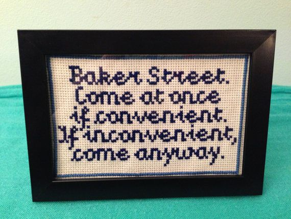 Finished Cross Stitch. Sherlock Quote Baker by BeaStitches