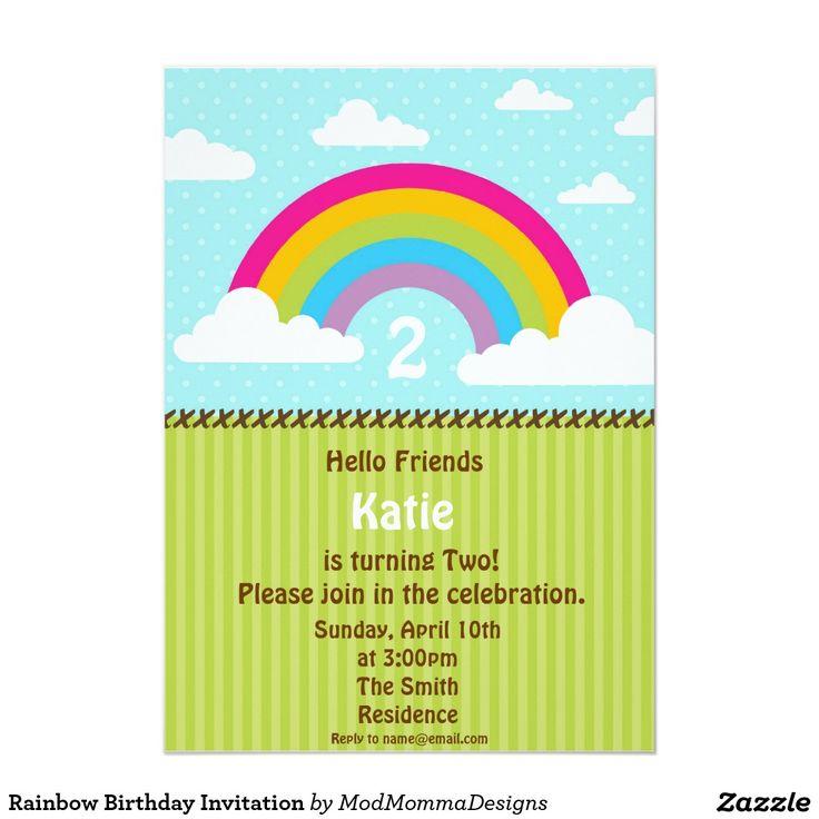 Invitación del cumpleaños del arco iris
