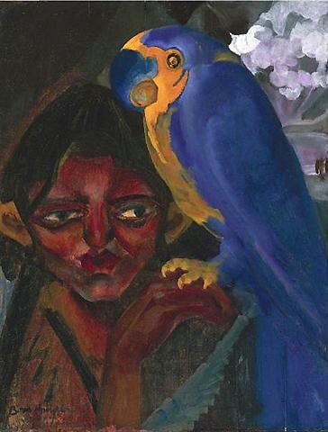 Борис Анисфельд. Портрет с попугаем. 1923 г.