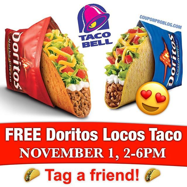YAY!! Mark your calendars! On November 1st, head to Taco Bell between 2-6PM to score a FREE Doritos Locos Taco! No coupon needed. Enjoy! 😍❤️🌮 (tag a friend)