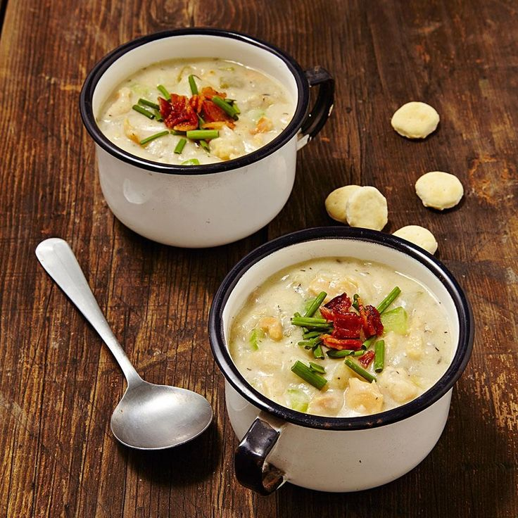 In this healthy clam chowder recipe, traditional heavy cream is replaced with milk and flour-thickened clam juice and we keep sodium amounts reasonable with lower-sodium clam juice instead of higher-sodium broths.