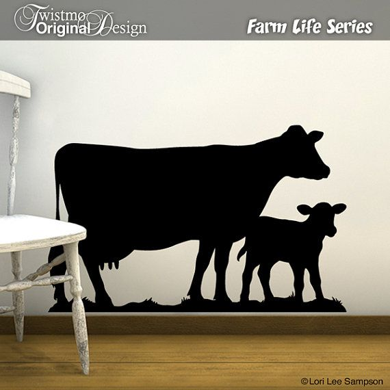 My down on the farm dairy cow and calf vinyl wall decal silhouette brings a touch of country to your homes nursery wall, bedroom, or kitchen cow decor.  Also Available as Chalkboard Decal. See all my Farm & Country designs here: https://www.etsy.com/shop/Twistmo?search_query=Twistmo+Farm  Your Purchase Includes: Design: Farm Life Cow and Calf Color Shown: Black Direction Shown: Going Right - If you like them going to the left, just add your instructions in the Note to Seller/Twistmo box…