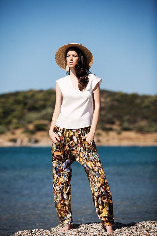 Menesthò  is an ethical  and sustainable fashion resortwear brand White V-neck bamboo top (TSS157B) / Printed bamboo harrem pants (PSS153B) Menesthò SS15 visit www.menestho.com