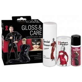Latex onderhoudset bestaande uit het volgende...   Latex-Speciaal-Wasmiddel, 200-ml. Latex-Glans-Spray, 50-ml Latex-Poeder, 50 gr  Prijs Erohouse € 19,95  http://www.erohouse.nl/latex-onderhoudset.html