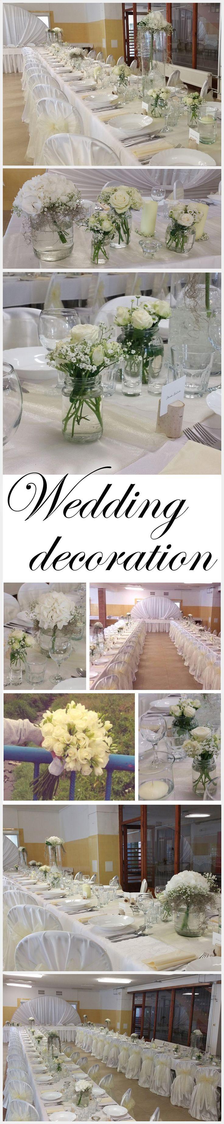 jemná krémovo biela svadobná výzdoba. Kombinácia ruží a hortenzie doplnená gypsomilkou. #wedding #decration #weddingdecoration #weddingday #wewddingflower #slovakia