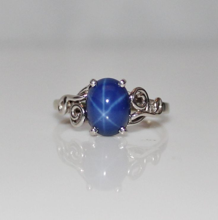 Vintage Estate 14k White Gold Blue Star Sapphire Ring, Size 6 1/2