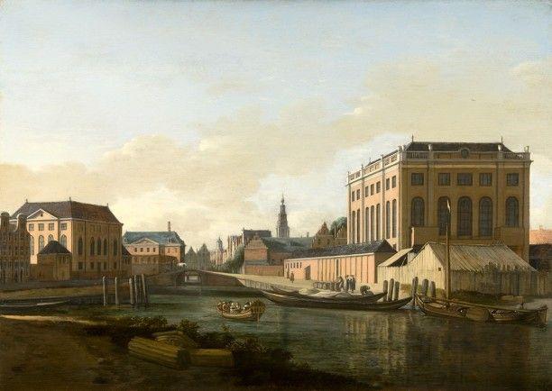Gezicht op de Grote en Portugese Synagogen te Amsterdam, circa 1680. Gerrit Adriaensz. Berckheyde.