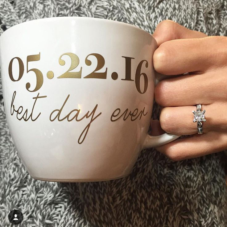 Best Day Ever Custom Date Coffee Mug with left handed handle to show off your new ring!   A perfect gift for a friend, your fiancee, or from a bridesmaid for a bridal shower, engagement party, bachelorette, or the day of the wedding while she is getting ready!   Our mugs are 16 oz. with the finest