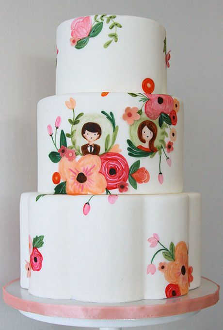 Personalized, Hand-Painted Floral Wedding Cake Featuring Bride and Groom Motifs