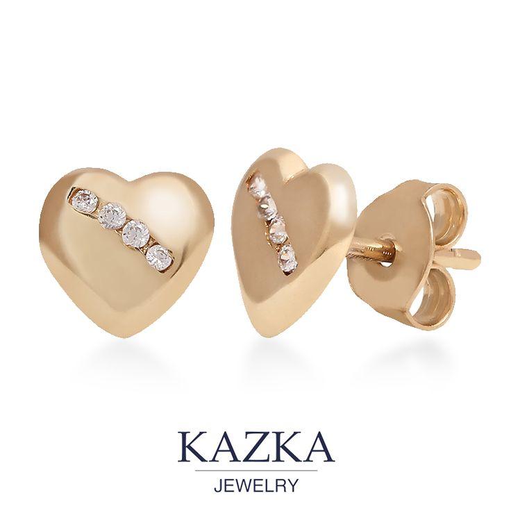 Подарите нежность, оформленную в золото. Пусеты в форме сердечек - идеальный подарок к Новому году. Приобрести за 1 708 грн. http://kazka.ua/zolotie-serezhki-2s304-0109-2s304-0109/ #kazkajewelry #украшение_kazkajewelry