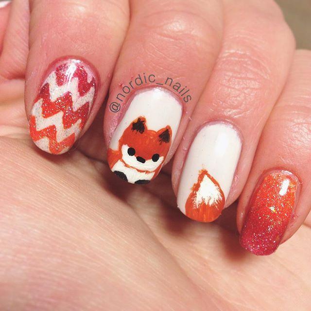 I've made a fox! Inspired by @elleandish  Do you like it? #nailart #nails #nailswag #nailpolish #polish #girly #cute #kawaii #art #atumn #fall #chevron #gradient #NOTombre #ombre #glitter #picturepolish #holiday #nailit #nailitdaily #staypolished #cutepolish #prettyandpolished #polisehed #orange #foxy #fox