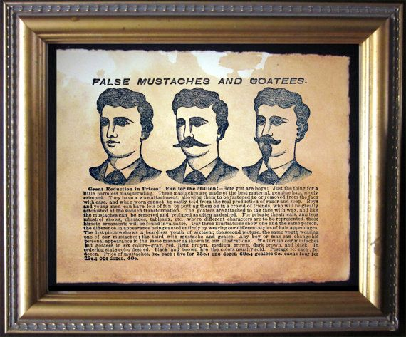 False Mustaches and Goatees Advertisement Ad by TeaStainedMadness, $14.99