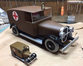 Maquette ambulance tintin en amérique construction bois