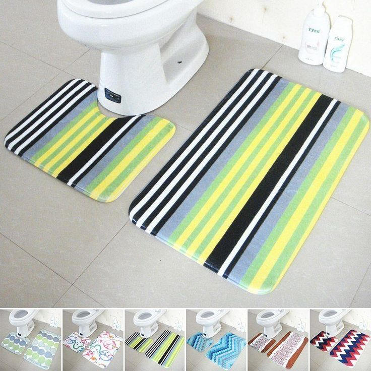 Hot Non-Skid Bathroom Floor Mats Absorbent Bathroom Carpet U-Shaped Ottomans Set