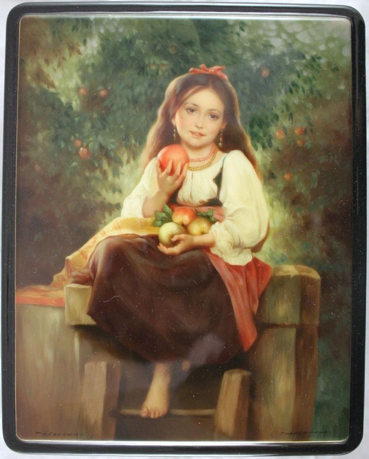 "Fedoskino. Russian Lacquer Art Titled ""Girl with Apples"" Artist Sergey Golubenkov"