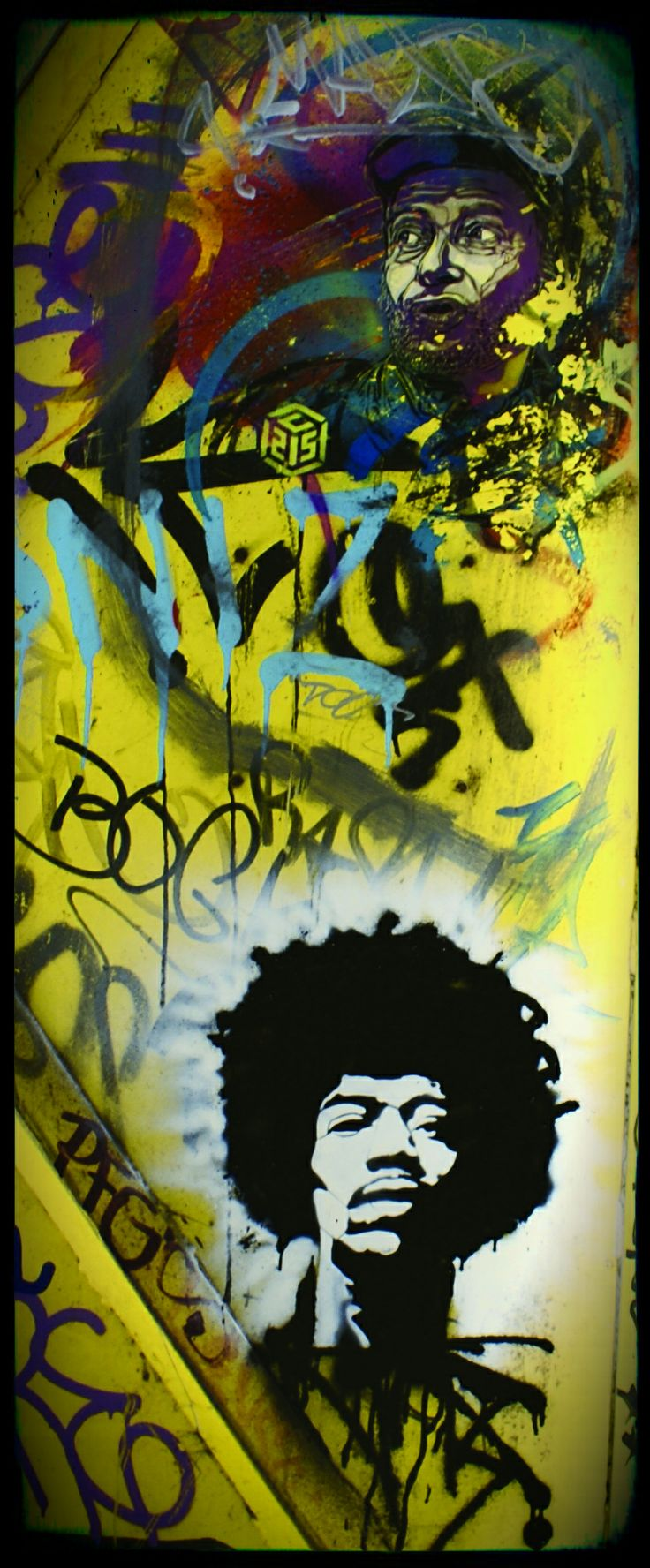 An urban door in NDSM, Amsterdam. ★ Art on top by C215. Below a Jimi Hendrix stencil by @Romeotees ★