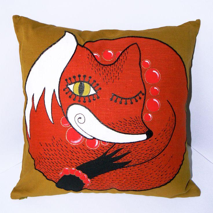 fox, handmade, pillow