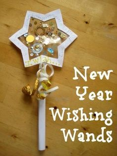 Love this idea for kids New Years' Eve wishing wands - a fun way to make resolutions and add in some reading and writing to your celebration.
