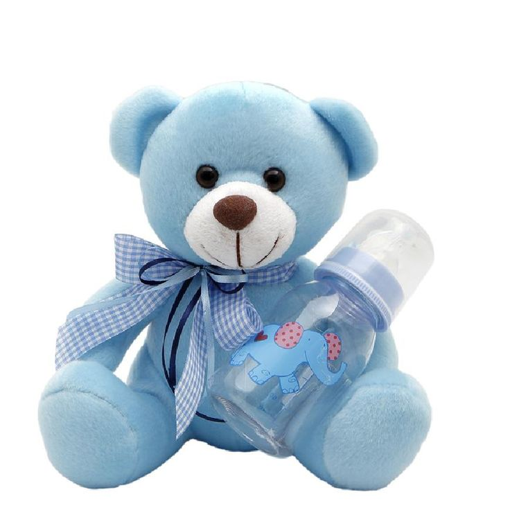 They'll go to bed early with this adorable Teddy Bear.It wears a blue bowtie with baby bottle,this super-soft Teddy will be their bedtime buddy long after they'll admit to it. #NewBaby #TeddyBear