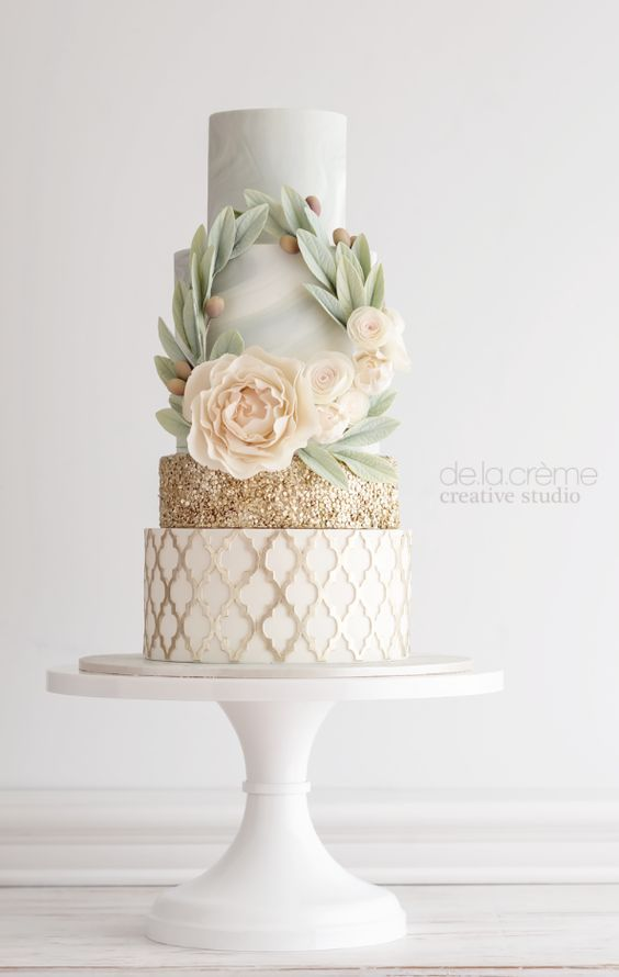 Featured Cake: De la Creme Studio; Drop-dead gorgeous mint, white and gold wedding cake with intricate design details