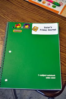 """Students write a letter to a parent about what they did during the week.  The parent writes back a short note in response. """"If the students bring their Friday Journal back on Monday with a parent response, they receive a sticker on the cover of their journal. By the end of the year, the cover looks really cool and the parents have a special keepsake."""""""