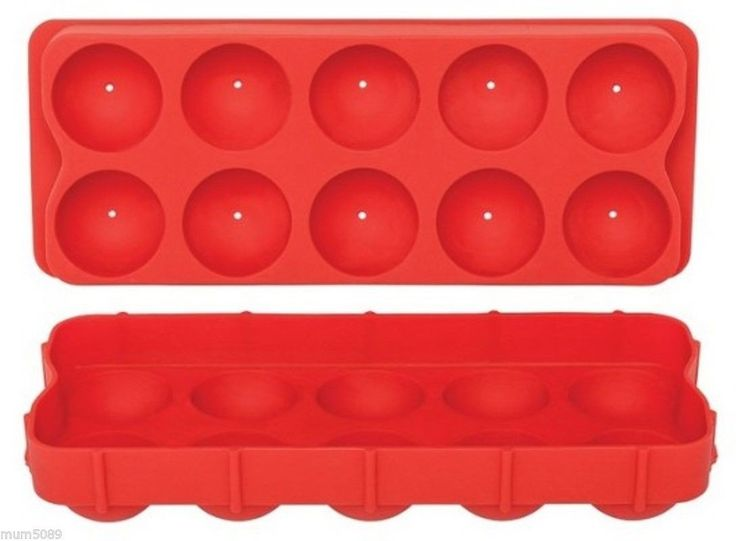 ROUND ICE CUBE TRAY SILICONE RED - Barware