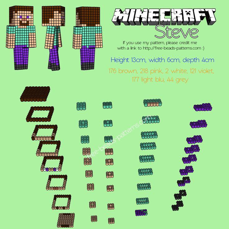 3D perler beads hama beads pyssla Minecraft Steve free pattern