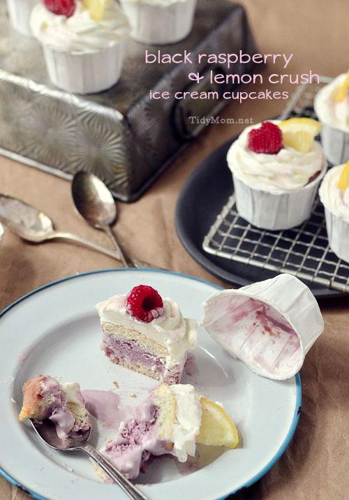 Cupcakes gone wild! Black Raspberry & Lemon Crush Ice Cream Cupcakes Recipe