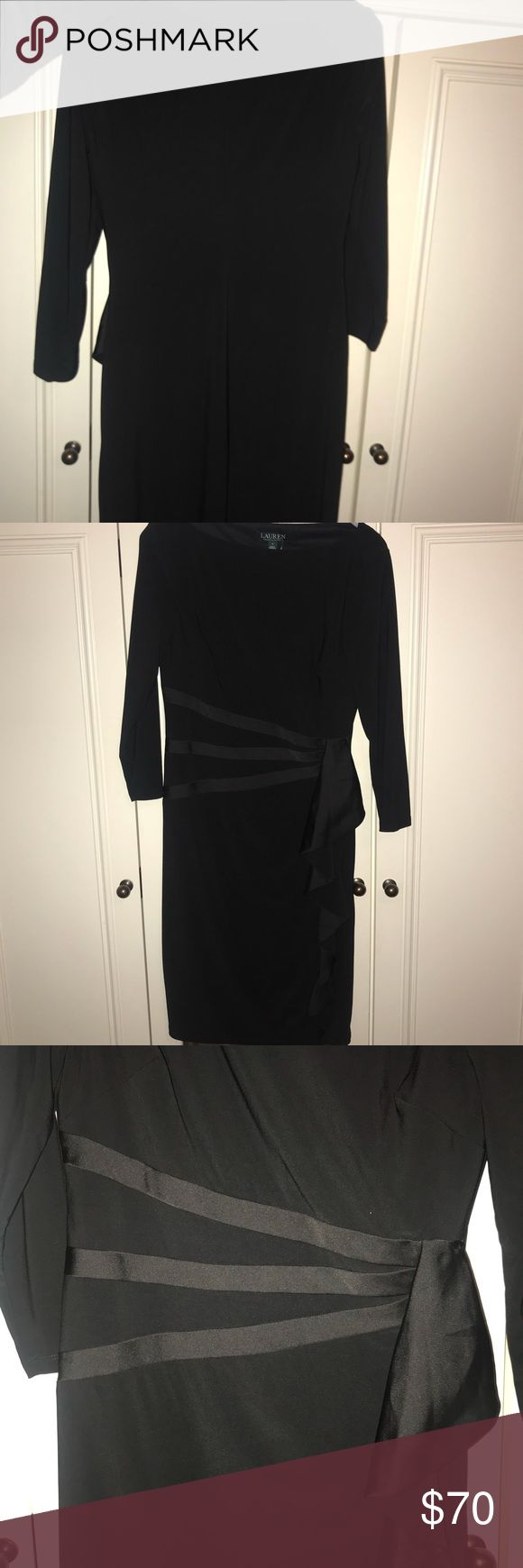 Ralph Lauren Tight black dress Black dress, about knee length with a bow decoration tightening the dress and adding design around the stomach. Sleeves are about elbow length, dress is soft and thin. Ralph Lauren Dresses Long Sleeve